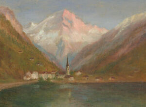 Early-20th-Century-Oil-Pink-Mountains-Over-A-Norwegian-Lake