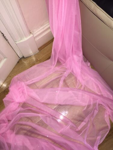 """10 MTR SOFT PINK TULLE STUDDED BRIDAL//DECORATION NET FABRIC..45/"""" WIDE NEW"""