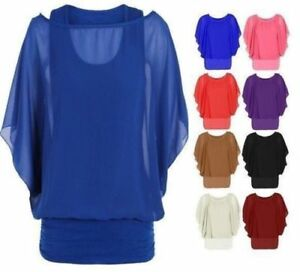 09aa5268dd582d Womens Over Size 2 in 1 Chiffon Ladies Blouse Batwing Tops Size UK 8 ...