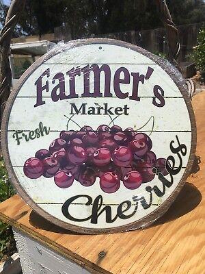 "Farmers Market Bananas 12/"" Round Metal Kitchen Sign Novelty Retro Home Decor"