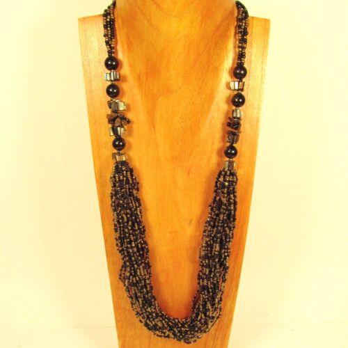 """28/"""" Black Gold Multi Strand Glass Pearl Shell Chip Handmade Seed Bead Necklace"""