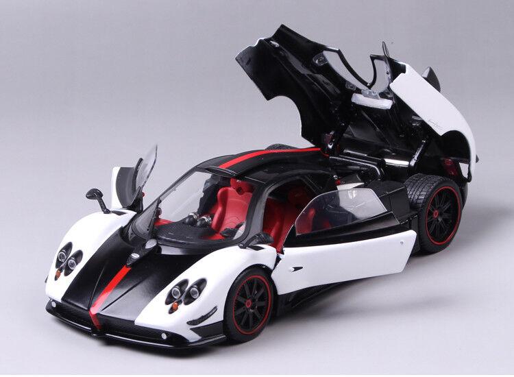 1/18 Blanco y Negro Pagani Zonda Deportes vehículo modelo automóvil de fundición Juguetes Coleccionables
