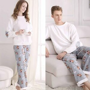 Underwear & Sleepwears 100% True New Fashion Winter Women And Men Pajamas Set Night Flannel Long-sleeve Cartoon Lovers Homewear Couples Matching Adult Pajamas To Be Distributed All Over The World Women's Sleepwears