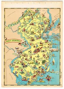Details about RUTH TAYLOR VINTAGE NEW JERSEY MAP CARTOON RARE PICTORIAL  GENUINE 1935 BLIMP