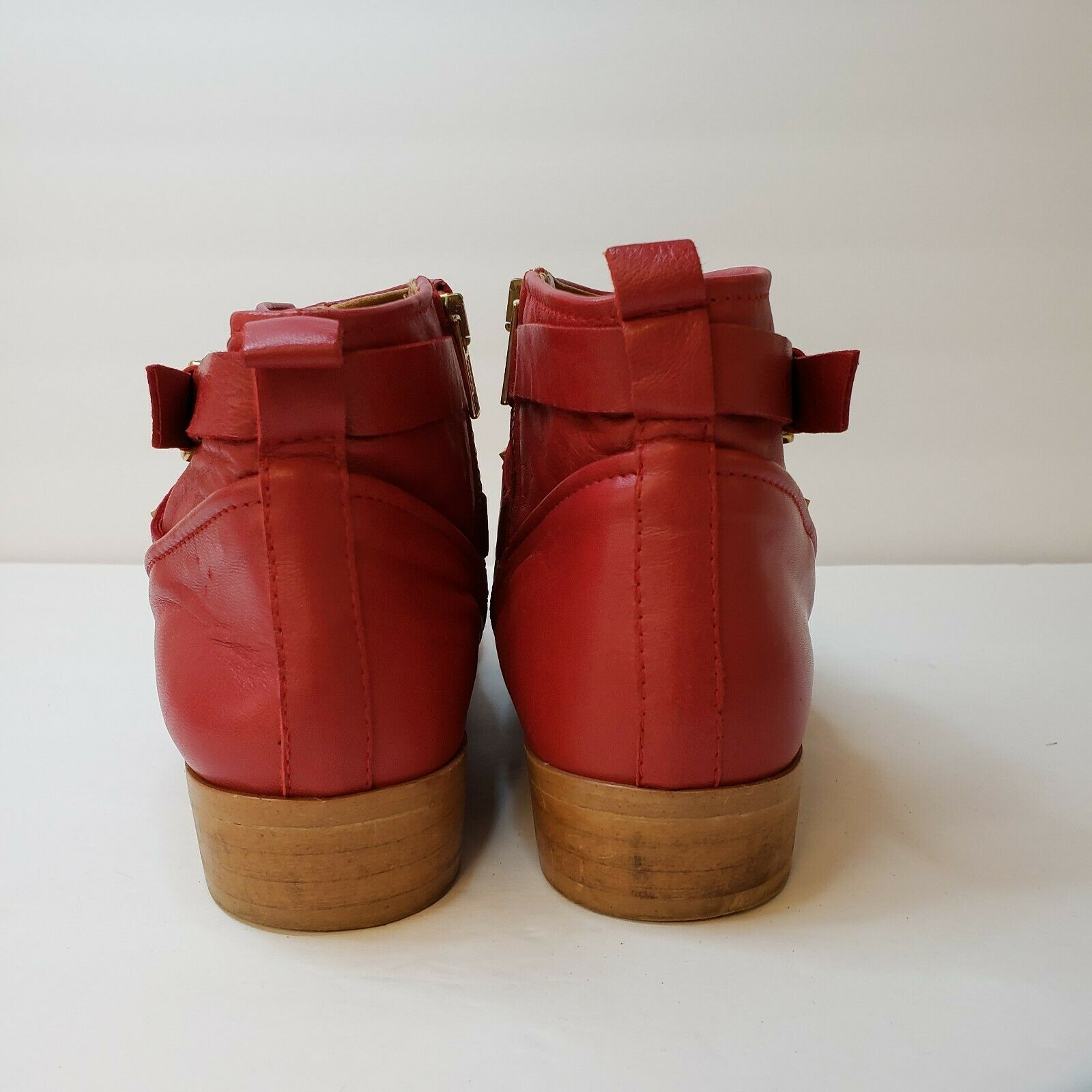 Zara Woman Womens Red Gold Studded Flat Leather Booties Size 9