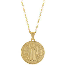 18k Gold Plated Saint Benedict Medal Necklace Pendant Reversible Religious 19""