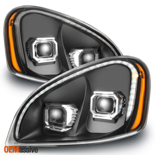 Fits 2008-2017 Freightliner Cascadia Black LED Tube DRL Projector Headlights Set