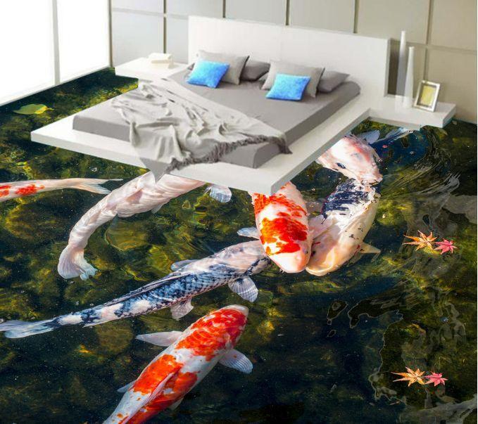 3D Waterweed goldfish 02 Floor WallPaper Murals Wall Print Decal 5D AJ WALLPAPER