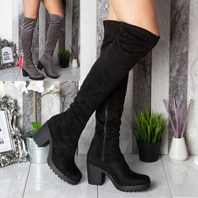 Ladies Over Knee Boots Womens Mid Heel