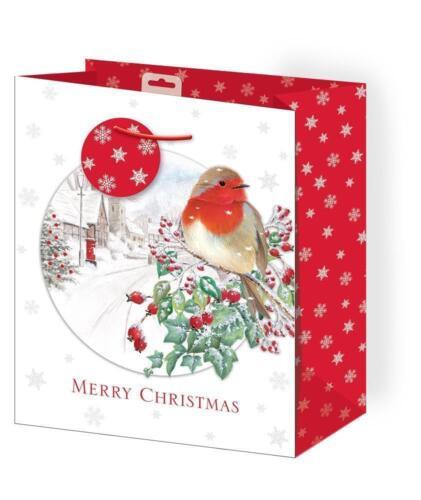 3 PACK MEDIUM CHRISTMAS GIFT BAG XMAS SANTA PRESENT SACK WITH TAGS 16 DESGINS