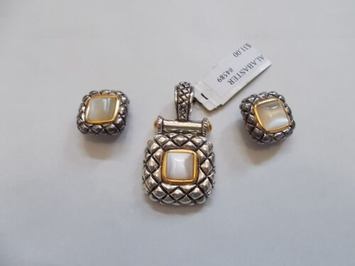 Alabaster and Rhinestone Artisan Earrings for Women