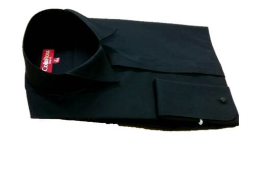 "BLACK Swept Wing Victorian Collar Shirt Wedding//Highland//Prom 15/""-20/"""