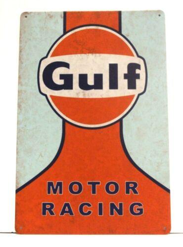New Gulf Motor Racing Tin Metal Poster Sign Garage Speed Shop Man Cave Decor
