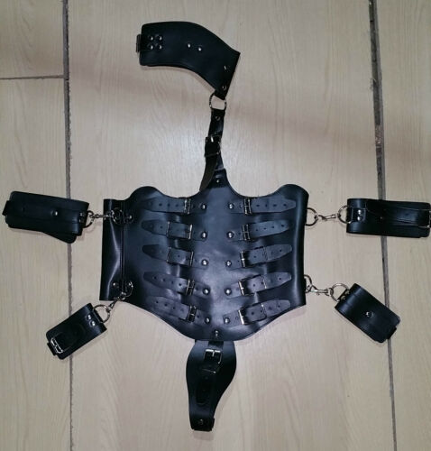 Full Body restraint Costume with wrist and Thigh Cuffs uk,gimp,fancy dress.