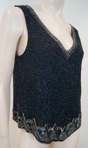 Ralph argento con Top Sz6 maniche nero paillettes scollo Lauren av perline senza seta Top dRxtqwYR