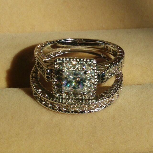 Vintage White Sapphire Diamonique 10KT White Gold GF Wedding Ring Set Size 5-11