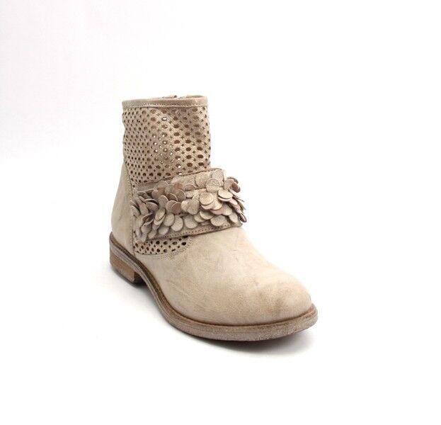 Donna Piu Piu Donna 53101 Antique Beige Gold Leather Suede Zip Ankle Booties 36 / US 6 39ba76