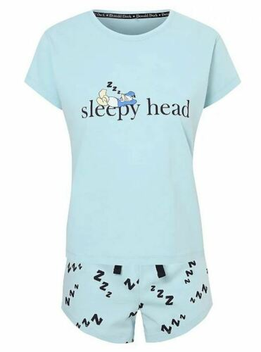Ladies Disney George Donald Duck Sleepyhead Pyjama Set Pjs Womens Top Shorts
