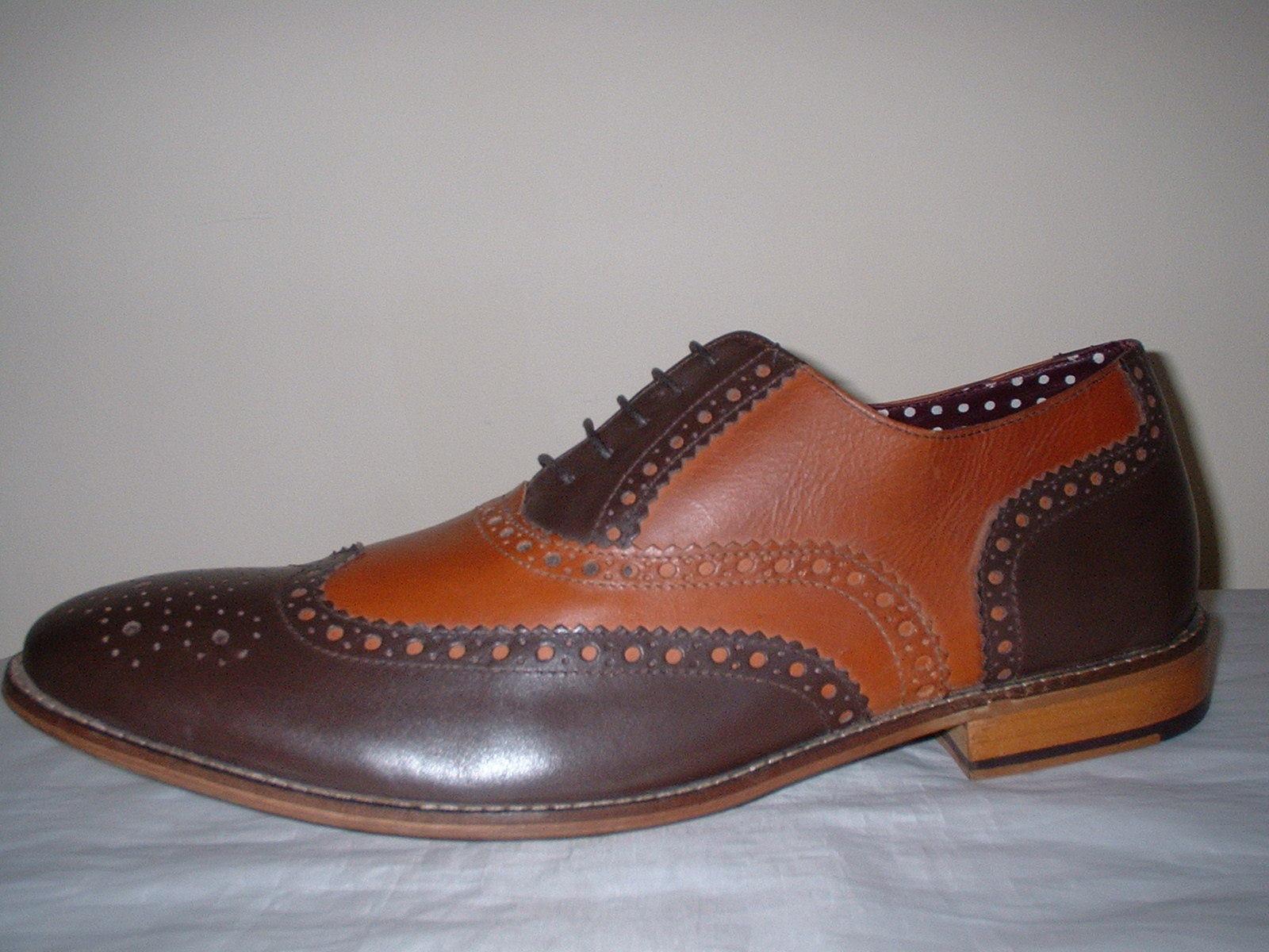 LONDON LONDON LONDON BROGUES  Herren BROWN /TAN GENUINE LEATHER BROGUE LACE UP OXFORD Schuhe 13/47 1bebbc