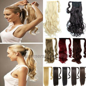 Long-Ponytail-Clip-In-Hair-Extension-Wrap-Pony-Tail-Fake-Hairpiece-as-human-lb10