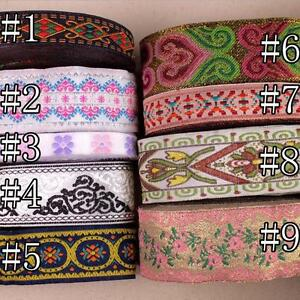 5-10-Yards-Vintage-Floral-Embroidered-Jacquard-Ribbon-Trim-Woven-Border-Lace
