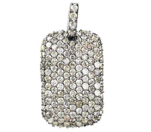 925 Sterling Silver 100/% Natural Diamond Dog Tag Charm Pendant Hip Hop Piece
