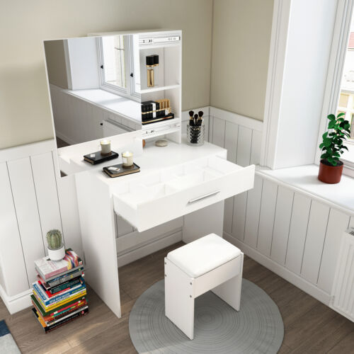 Dressing Table Jewelry Makeup Desk w//Sliding Mirror/&Drawer Modern White Bedroom