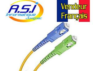Cable Fibre Optique SC APC / SC UPC Jarretière Freebox Free 1m VENDEUR FRANCAIS