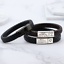 Vienna-Brown-Black-Leather-amp-Stainless-Steel-Mens-Personalised-Engraved-Bracelet thumbnail 2