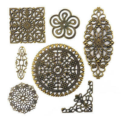 Buddly Crafts Metal Filigree Assorted Flower Wraps - 32pcs Antique Bronze AB14