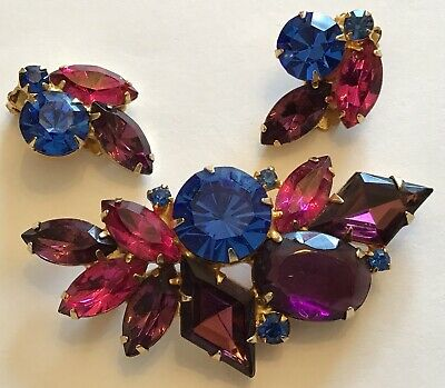 Blue and White Brooch and Earrings D/&E JULIANA Givre in Pinks
