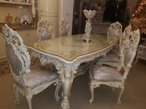 Silik Italy Original Silik Baroque Style Dining Room Table And 6