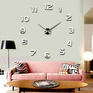 image is loading new fashion large number wall clock diy 3d - Home Decor Art