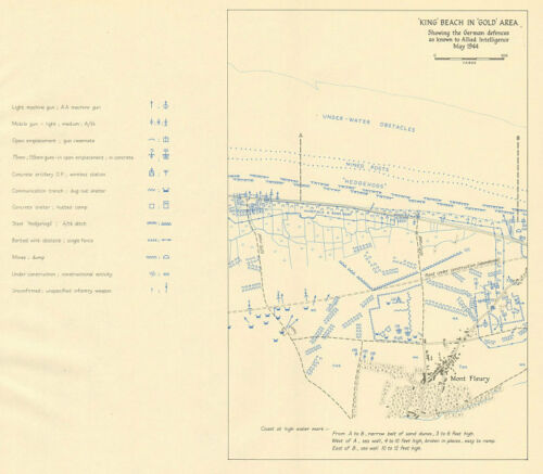Gold Area D-Day Mont Fleury 1962 map May 1944 King Beach German defences