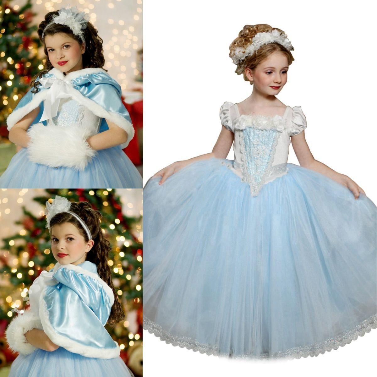UK Cinderella Dress Kids Girls Costume Princess Party Fancy Dress + ...