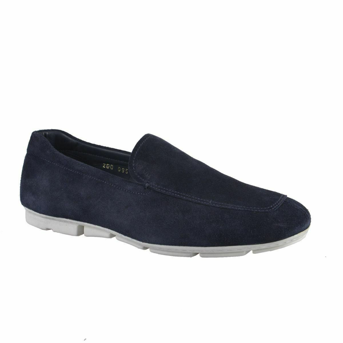 Prada Men's bluee Suede Leather Loafers shoes US 8.5 IT 41.5