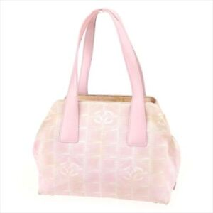 fef779a93f51 Image is loading Chanel-Bag-Handbag-Newtravelline-Pink-Canvas-Leather-Woman-