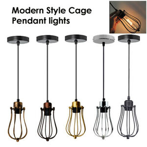 Industrial-Ceiling-Pendant-Light-Caged-Vintage-Hanging-Metal-Lampshade-wire-cage