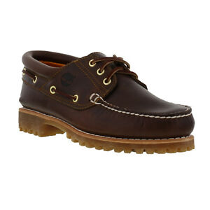 8b44d9d1419 Timberland 30003 Mens Brown Leather Classic Lug Boat Shoes Size UK 8 ...