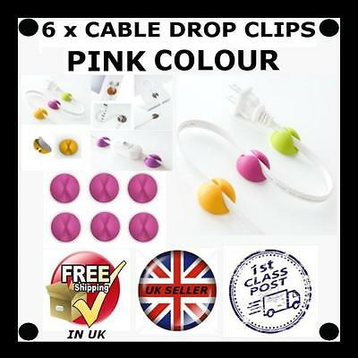 6 X PINK Cable Drop clip desk tidy organiser wire cord lead USB CHARGER HOLDER