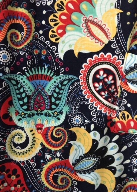 NWT LuLaRoe CARLY 3XL NAVY Floral & Paisley  Flowers RED YELLOW WHITE  UNICORN