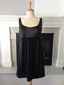 db2a99a108 MARIA BIANCA NERO Black Silk Chiffon and Satin Beaded Semi Formal ...