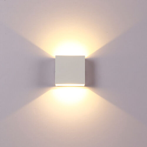 6W Modern LED Wall Lights Up//Down Outdoor//Indoor Lamp Sconce Cube Square Lamp UK