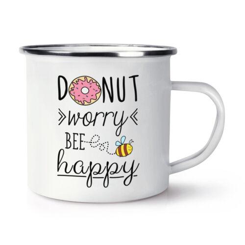 Donut WORRY BEE HAPPY Rétro émail Tasse-Donut Inspirant Citation
