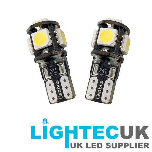 2x BRIGHT PURE WHITE 5 SMD 501 T10 W5W CANBUS ERROR FREE INTERIOR LED SIDE LIGHT