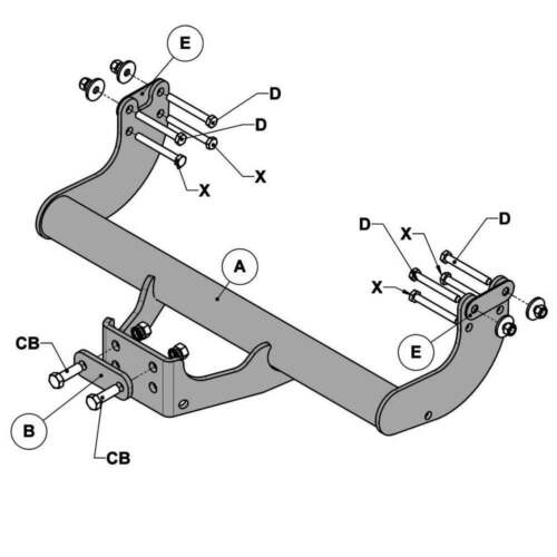 2012 On Ford Transit//Tourneo Custom WITTER F163 Fixed Flange Neck Tow Bar