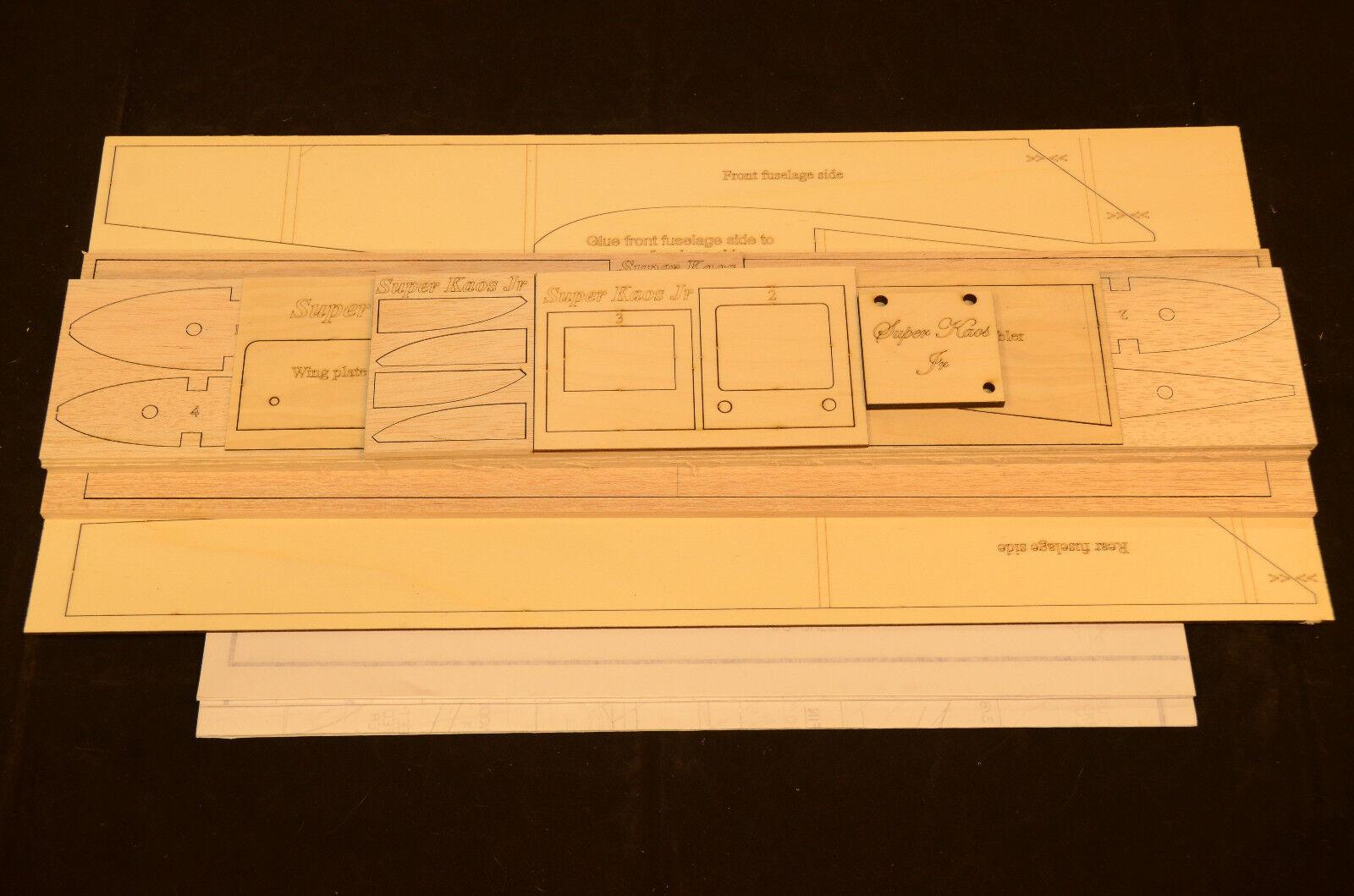 Súper Kaos Jr Diseño Avión Corta Kit, Planes & Instrucción 52 Envergadura