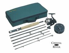 Spin Fly Rod and Reel Fishing Executive Travel Pack Case Portable 7' Combo