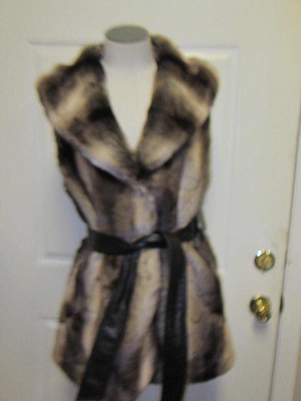 Ellen Tracy Faux Fur Vest L Brown NWT