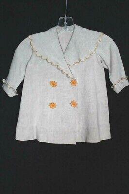 Sehr Selten Antik Französisch Edwardianisch Era Kinder Leinen Mantelgröße 2-3 J